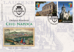 ROMANIA, 2016,CITIES, CLUJ-NAPOCA, Tourism, Theatre, University, Tower, Set 2 FDC - Architektur