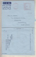 Great Britain, EIIR 1954  Air Letter, 6d Meter Frank, LONDON SW1  From Harvey Nichols > S.Africa - 1902-1951 (Kings)