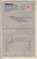 Great Britain, GVIR 1949  Air Letter, 6d, Whitfield King Philatelic Press Notes Aug 49, IPSWICH  > S.Africa - 1902-1951 (Kings)
