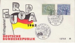 Europa Cept 1962 Germany 2v FDC (F5688Q) - 1962