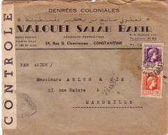 ALGERIE - 39-45 - CONSTANTINE - MARIANNE D'ALGER - BANDE DE CENSURE AVEC CACHET DE CONTROLE. - Guerre De 1939-45