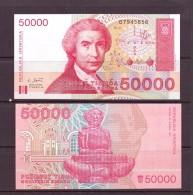 CROATIE 1993 2 BILLETS 50000/100000 DINARA   NEUF UNC P26/27 - Croatie