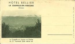 """Carte Lettre De LA CHAPELLE-EN-VERCORS """" Hotel Bellier """" Rare . - Die"""