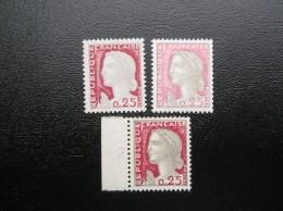 1263  Belle Variété Sur 3 Timbres Marianne Decaris 1960   Neuf, Gomme Intacte - Varietà: 1960-69 Nuovi
