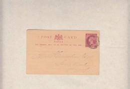 Natal,1889, 1d Card J.ROY (transport Rates); ,LADYSMITH > Senekal , HARRIESMITH OFS Transit - Afrique Du Sud (...-1961)