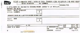 SNCF - Billet Senior Nice Riquier ---> Cannes Pour 2 Personnes - Chemins De Fer