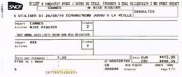 SNCF - Billet Cannes ---> Nice Riquier Pour 2 Adultes - Chemins De Fer