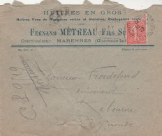 Yvert 199 Semeuse Sur Lettre Entête Fernand Metreau Fils Huitres Cachet Flamme Daguin MARENNES 30/12/1929 Charente Infér - Briefe U. Dokumente