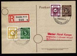 A4264) SBZ Ostsachsen R-Karte Von Kempe Von Dresden 13.10.46 Mit Mi.47A, 50A Ua. - Sowjetische Zone (SBZ)