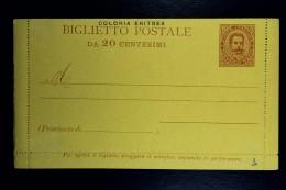 Italia: Colonia Eritrea  Biglietto Postale Mi Nr 2 Unused - Eritrea