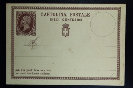 Italia: Cartolina Postale Mi Nr 1 Unused - 1861-78 Victor Emmanuel II