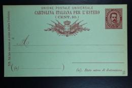 Italia: Cartolina Postale Mi Nr 18 Unused   1889  Ausland - Postwaardestukken