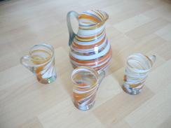 Glas-Karaffe Mit 3 Henkel-Gläser - Wohl Murano  (296) - Glas & Kristall