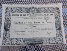 CHEMIN DE FER ET BASSIN HOUILLER DU VAR (1873) - Actions & Titres