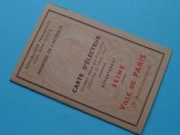 CARTE D´ELECTEUR Dep. Seine Ville De PARIS Anno 1946 Havaux Né 1895 N° 729 ( Pour Detail Voir Photo ) ! - Old Paper