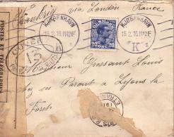 DANEMARK - LETTRE POUR LA FRANCE VIA LONDRES - BANDE DE CENSURE + CACHET DE CENSEUR 13 - LE 15-2-1916. - 1913-47 (Christian X)