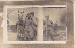 Carte Photo - Deux Militaires Avec Leur Attelage De Chevaux Au Retour De Ravitaillement En Vin, Voir Robinet En Médaille - Guerre 1914-18