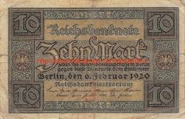 1920 Zehn Mark Reichsbanknote 10 Mark - [ 3] 1918-1933 : Weimar Republic