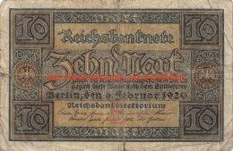 1920 Zehn Mark Reichsbanknote 10 Mark - [ 3] 1918-1933 : République De Weimar