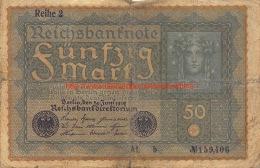 1919 Fünfzig Reichsbanknote 50 - [ 3] 1918-1933 : République De Weimar