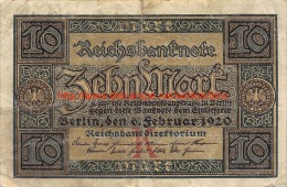 Zehn Mark 10 Reichsbanknote 1920 - [ 3] 1918-1933 : Weimar Republic