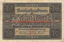 Zehn Mark 10 Reichsbanknote 1920 - 10 Mark