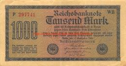 Tausend Mark 1000 Reichsbanknote 1922 - [ 3] 1918-1933: Weimarrepubliek