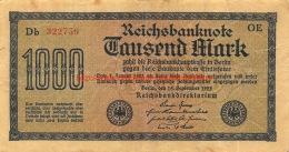Tausend Mark 1000 Reichsbanknote 1922 - 1918-1933: Weimarer Republik