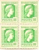 Bloc 4 Timbres  Marianne D'Alger 80c N°636 Vert-jaune Américaine 1944 - 1944 Coq Et Marianne D'Alger
