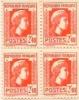 Bloc 4 Timbres  Marianne D'Alger 2,4f N°641 Vermillon Impression Américaine 1944 - 1944 Coq Et Marianne D'Alger