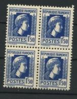 FRANCE - MARIANNE D´ALGER - N° Yvert 639** BLOC DE 4 - 1944 Coq Et Marianne D'Alger