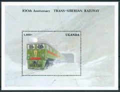 1991 Uganda 100th Anniversary Trans - Siberian  Treni Trains Railways Locomotive Locomotives Block MNH** Car25 - Uganda (1962-...)