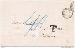 19395. Envuelta LONDON 1891 A Colonia (alemania)  TAXE.  Tasada