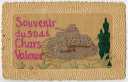 Carte Brodée Du Régiment 504 RCC De Valence Tank / Souvenir Militaire Brodé - Brodées