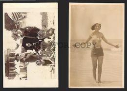 CHILDREN & WOMAN URUGUAY MONTEVIDEO BEACH EPOCH SWIMSUIT 2 RPPC Postcards Ca1900 - Photographs