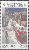 Saint-Pierre & Miquelon 1993 Yvert 591 Neuf ** Cote (2015) 1.70 Euro Noël Enfant Et Père Noël Avec Attelage - Neufs