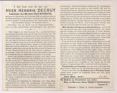 DP Hendrik DECRUY - Seynhaeve - Roeselare - Rumbeke - 1886 / 1962 - Décès