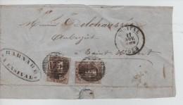 TP 6(2) S/devant De Lettre-Briefvoorzijde Obl.à Barres 175 C.Ensival 17/11/1858 V.St.Hubert PR3532 - Postmark Collection