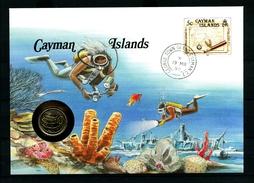 Busta NUMICOVER- CAYMAN ISLANDS - CON MONETA - Year 1990 - Non Viaggiata - Con Notizie ,in Tedesco , Dello Stato. - Francobolli