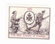 Vignette Militaire Delandre - Angleterre - 9th County Of London - Erinnofilia