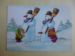 FANTAISIES  Illustrateur Humour  Michel Bridenne  Bonhommes De Neige  Enfants   SEPT 2016  296 - Künstlerkarten