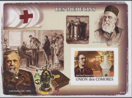 COMORES SHEET IMPERF LES MEDECINS THE DOCTORS HENRI DUNANT RED CROSS NOBEL PRIZE LOUIS PASTEUR