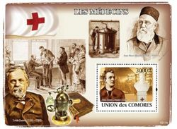 COMORES SHEET LES MEDECINS THE DOCTORS HENRI DUNANT RED CROSS NOBEL PRIZE LOUIS PASTEUR