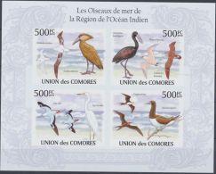 COMORES SHEET IMPERF BIRDS SEABIRDS IN THE REGION OF THE INDIAN OCEAN LES OISEAUX DE MER DE LA RÉGION DE L'OCÉAN INDIEN