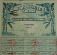 Guinée - SA De Cultures Et Bananeraie Du Kin-San - Action De 100 F - Asie