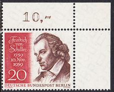 !a! BERLIN 1959 Mi. 190 MNH SINGLE From Upper Right Corner -Friedrich Von Schiller - [5] Berlin
