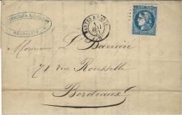 1er MAI 1871 - Lettre De NANTES  ( L. Atl. ) Cad NANTES A PARIS  B Affr. N° 46 Report II - Postmark Collection (Covers)