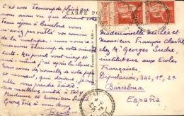 FRANCE - Type Paix Avec Bande Pub Sur Carte Postale De Tarascon Sur Ariège Pour Barcelone En 1933 - A Voir - L 3023 - Advertising