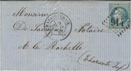 1869 - Lettre De LA CHATAIGNERAIE ( Vendée ) Cad T17 Affr. N°29 Oblit. G C 914-au Dos, Bureau De Passe 2660 - 1849-1876: Période Classique