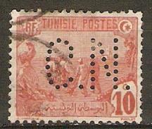 TUNISIE    -  1906.    Y&T N° 32 Oblitéré.  Perforé  /  Perfin.  C.N. - Perfin